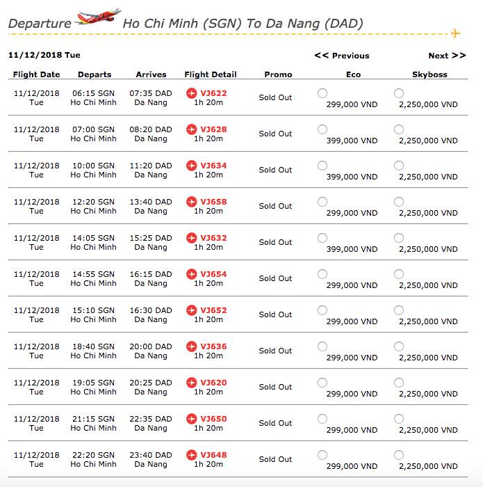 SGN-DAD flights