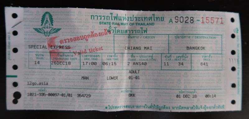 Chiang Mai - Bangkok ticket