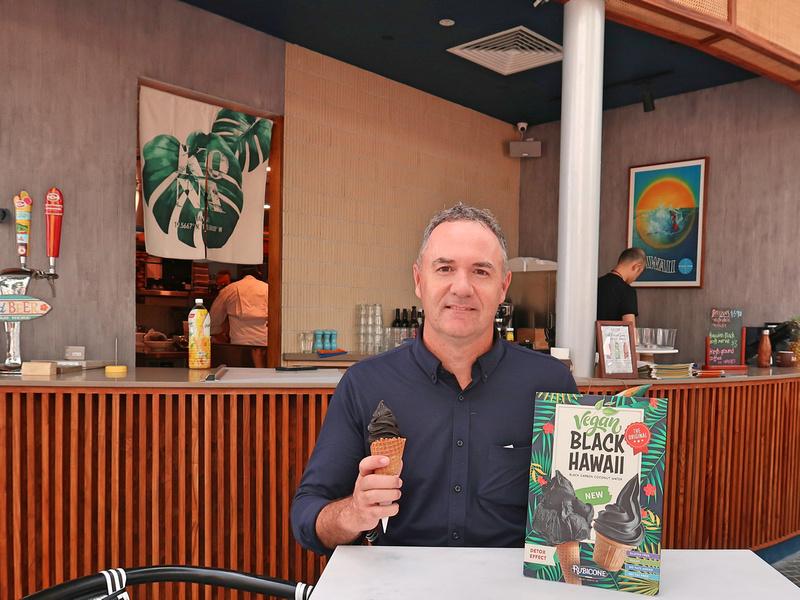 James with Black Hawaii ice cream at Aloha Poke