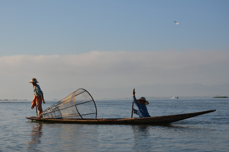 Boys with fish net - Inle Lake