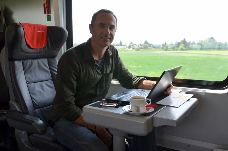 At the office on a train in Austria