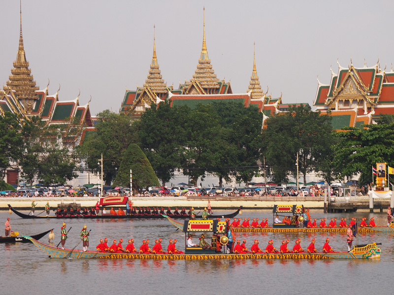 Passing the Grand Palace - Royal Barge Procession 2012