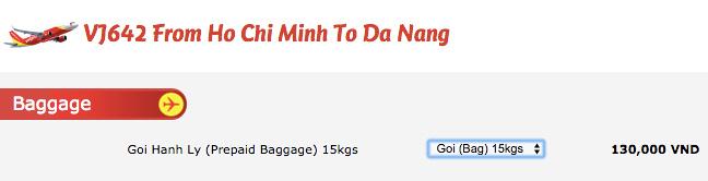 VietJet Air baggage-15kg