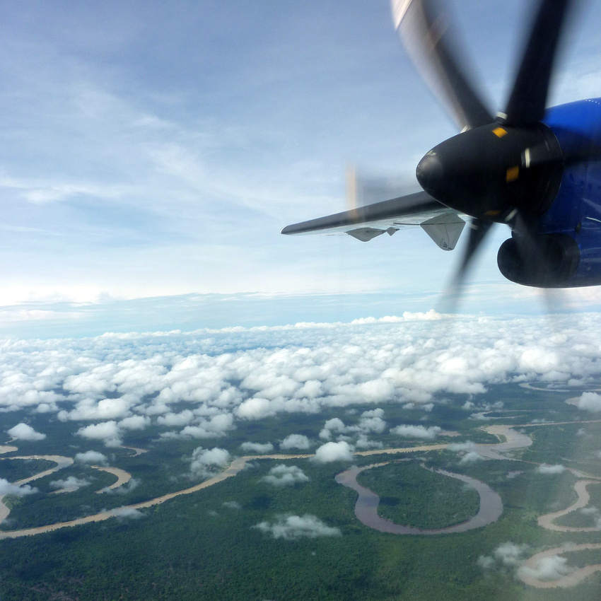 Flying over jungle