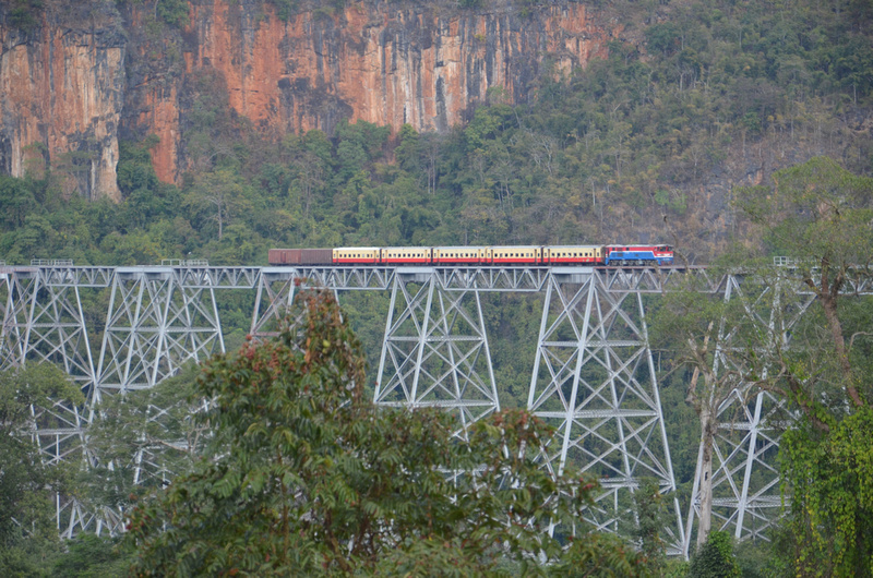 A train crossing the Gokteik Viaduct in Myanmar.