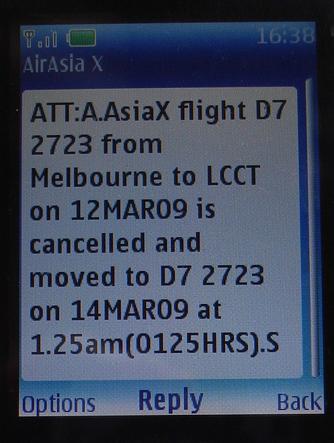 AirAsiaX Text Message