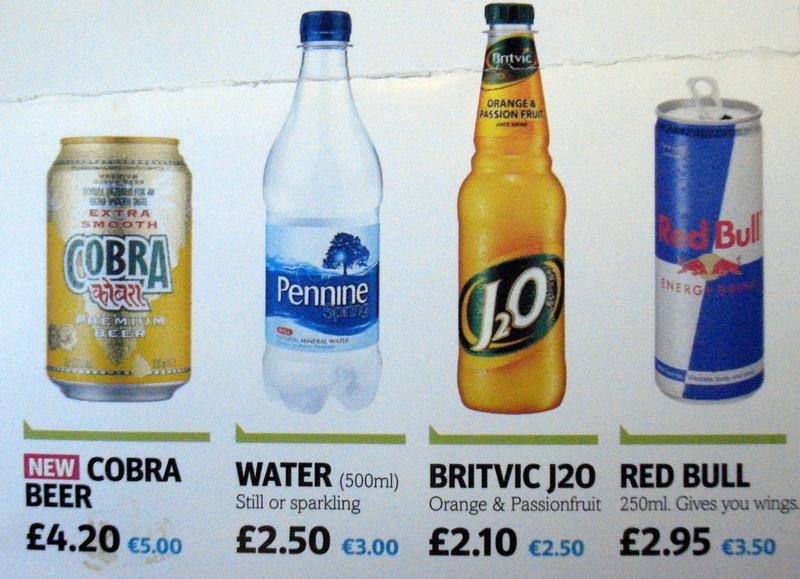 Ryanair Drinks Prices