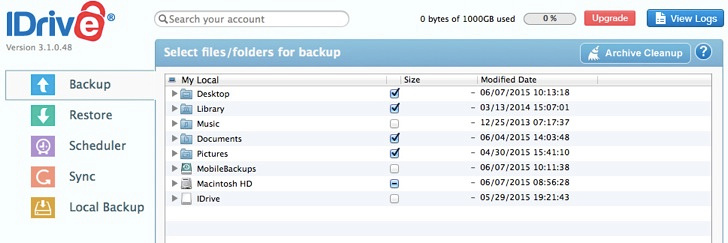 Select files for backup