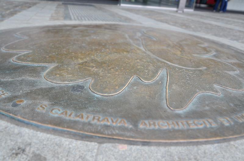 Calatrava ground plaque at Liège-Guillemins station