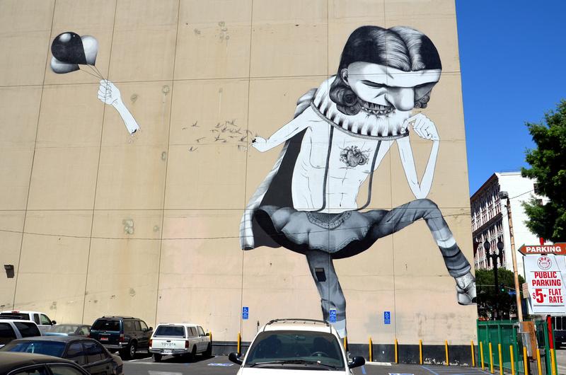 Bare wall street art - Downtown LA