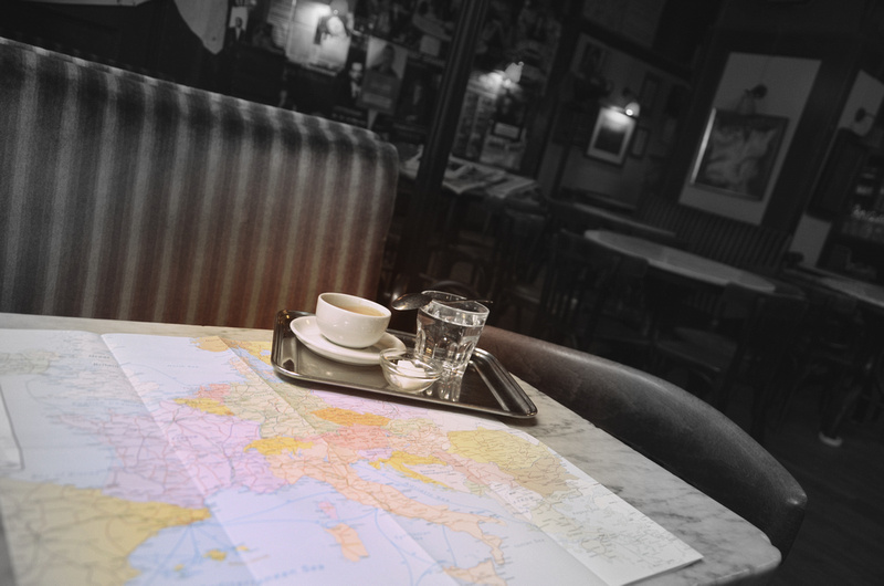 Eurail map with coffee