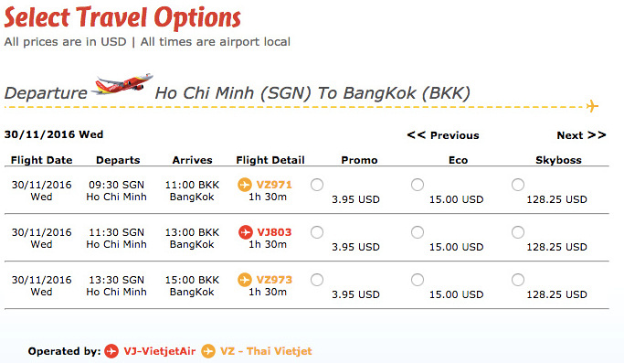 Select travel options