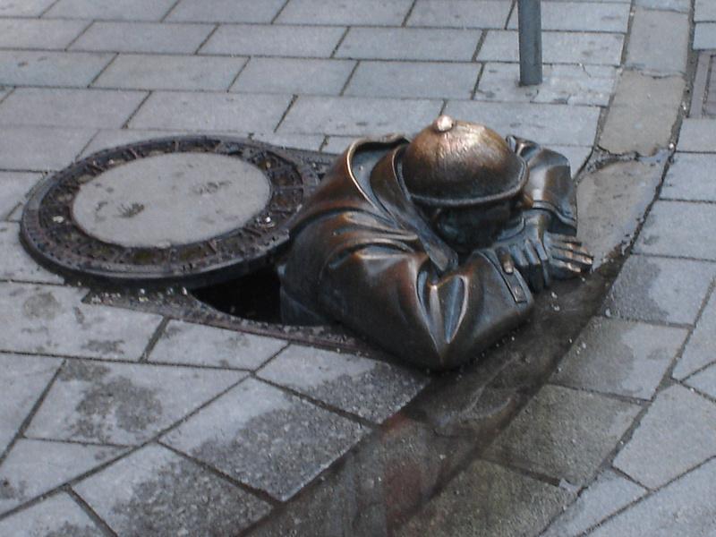 Man in a manhole, Bratislava - Slovakia