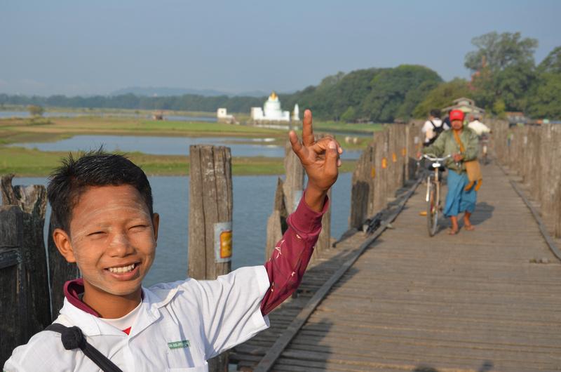 Boy on U Bein Bridge, Amarapura - Myanmar