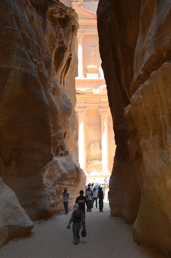 First view of the Treasury at Petra - Jordan
