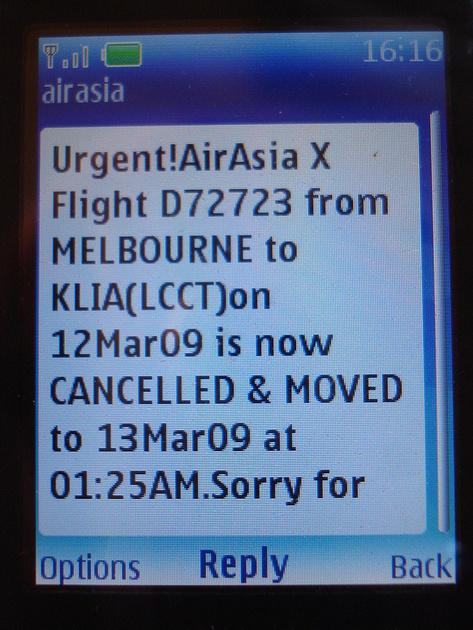 Second AirAsiaX Text Message