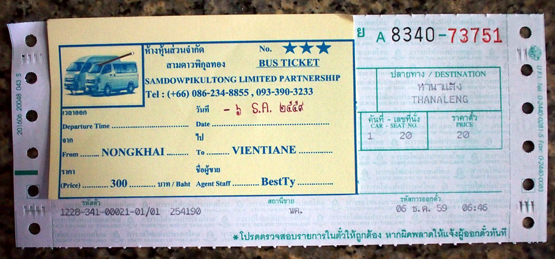 Nong Khai to Thanaleng and Vientiane ticket