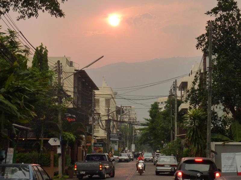 Chiang Mai smog sunset