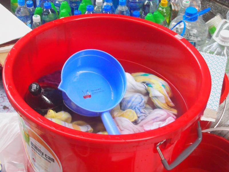 Bucket of wet towels