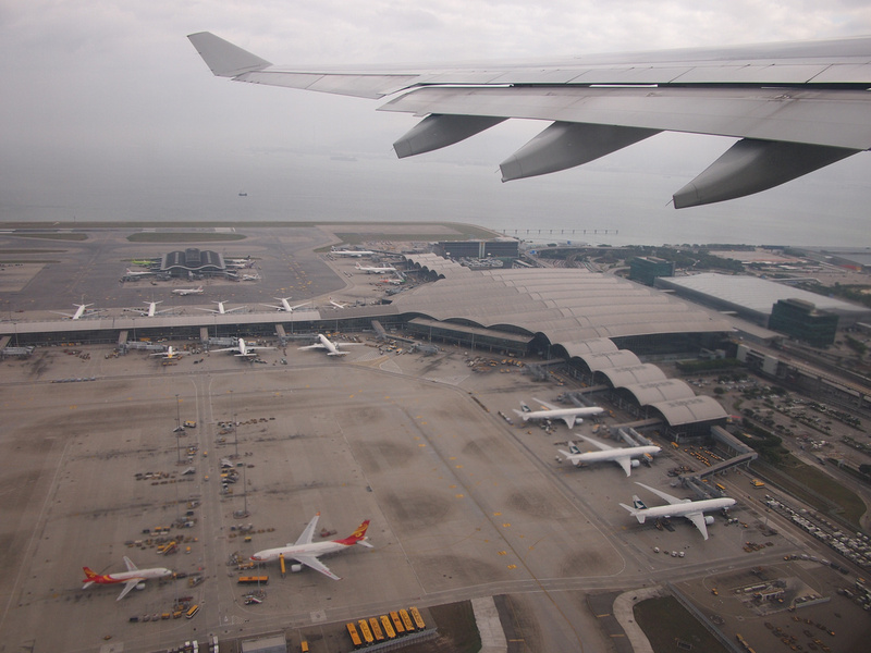 Flying over HKG