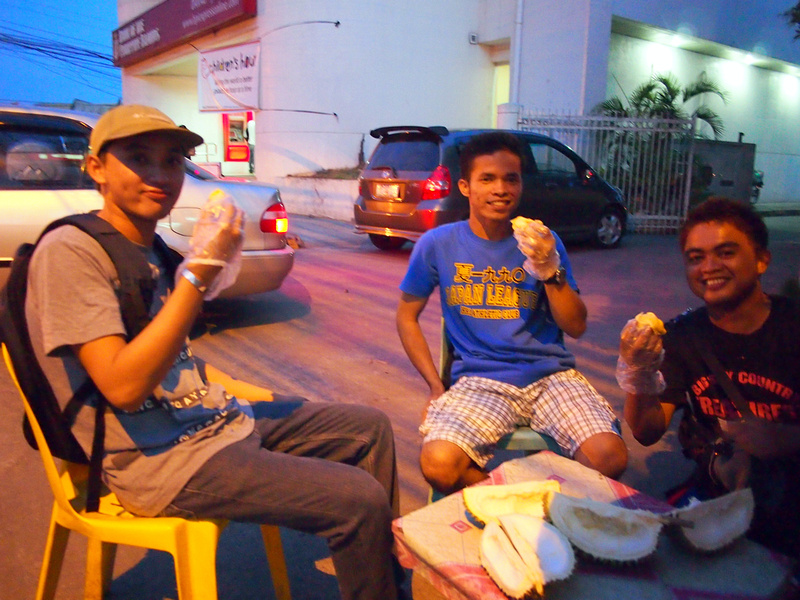 Durian lovers in Davao