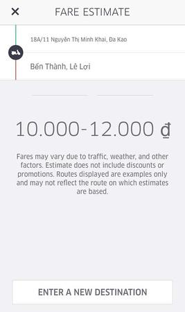 Uber fare estimate