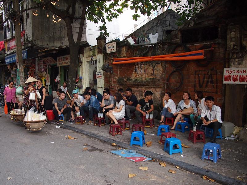 Little plastic chairs in Hanoi