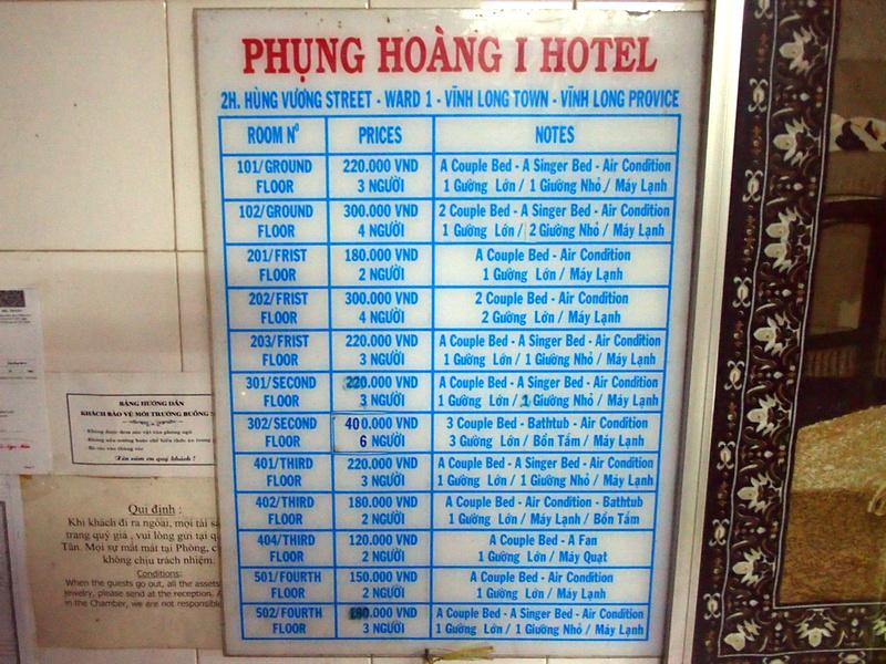 Pricelist at Phung Hoang Hotel